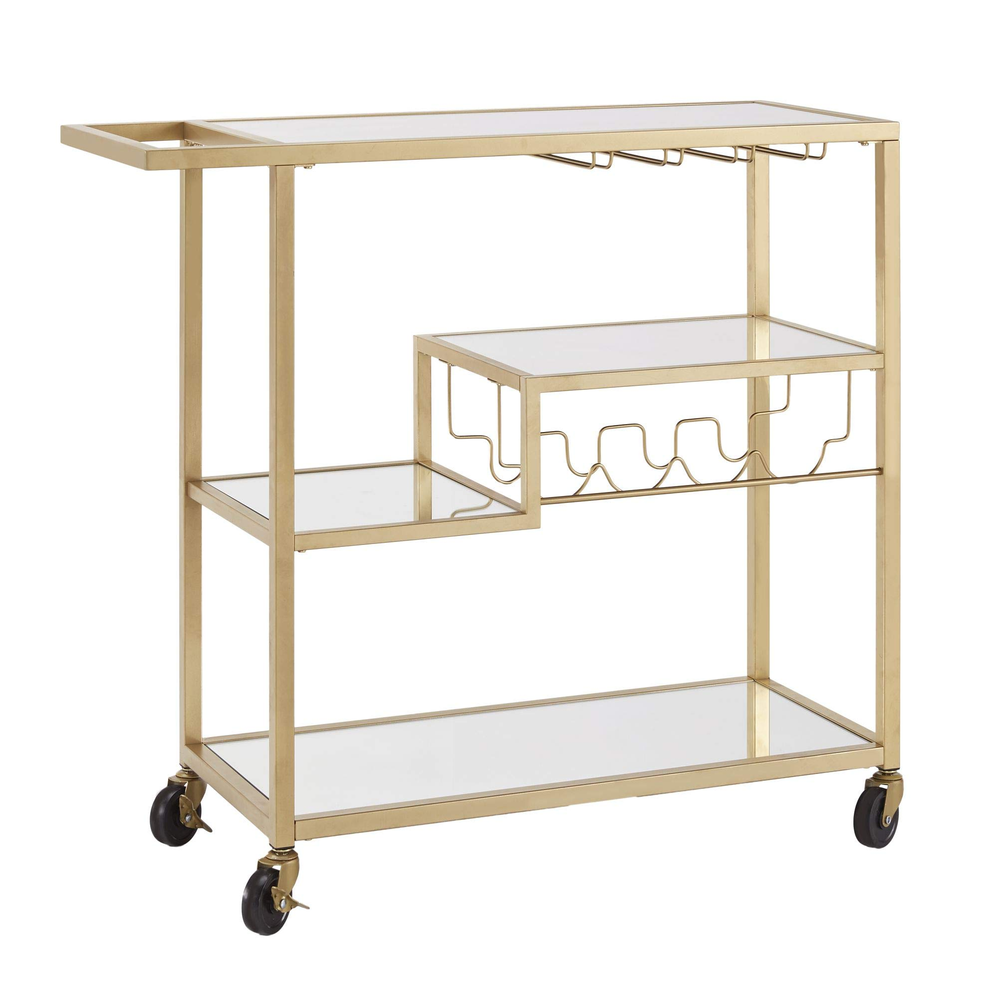 Union 5 Home Combourg Gold Metal Mobile Bar Cart with Mirror Glass Top by Union 5 Home