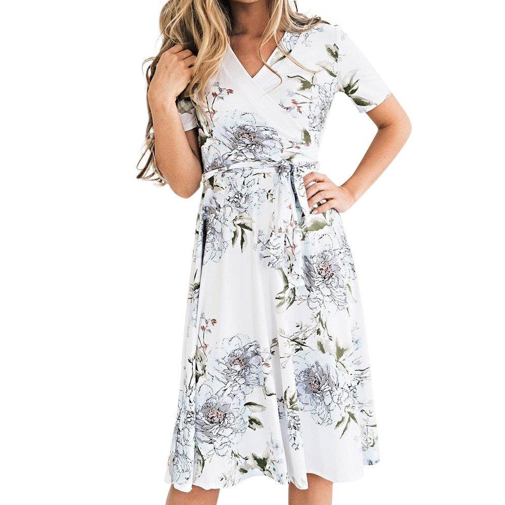 Deals! Women's V-Neck Floral Print Short Sleeve Boho Dress Party Evening Beach Mini Tunic Dress with Belt White