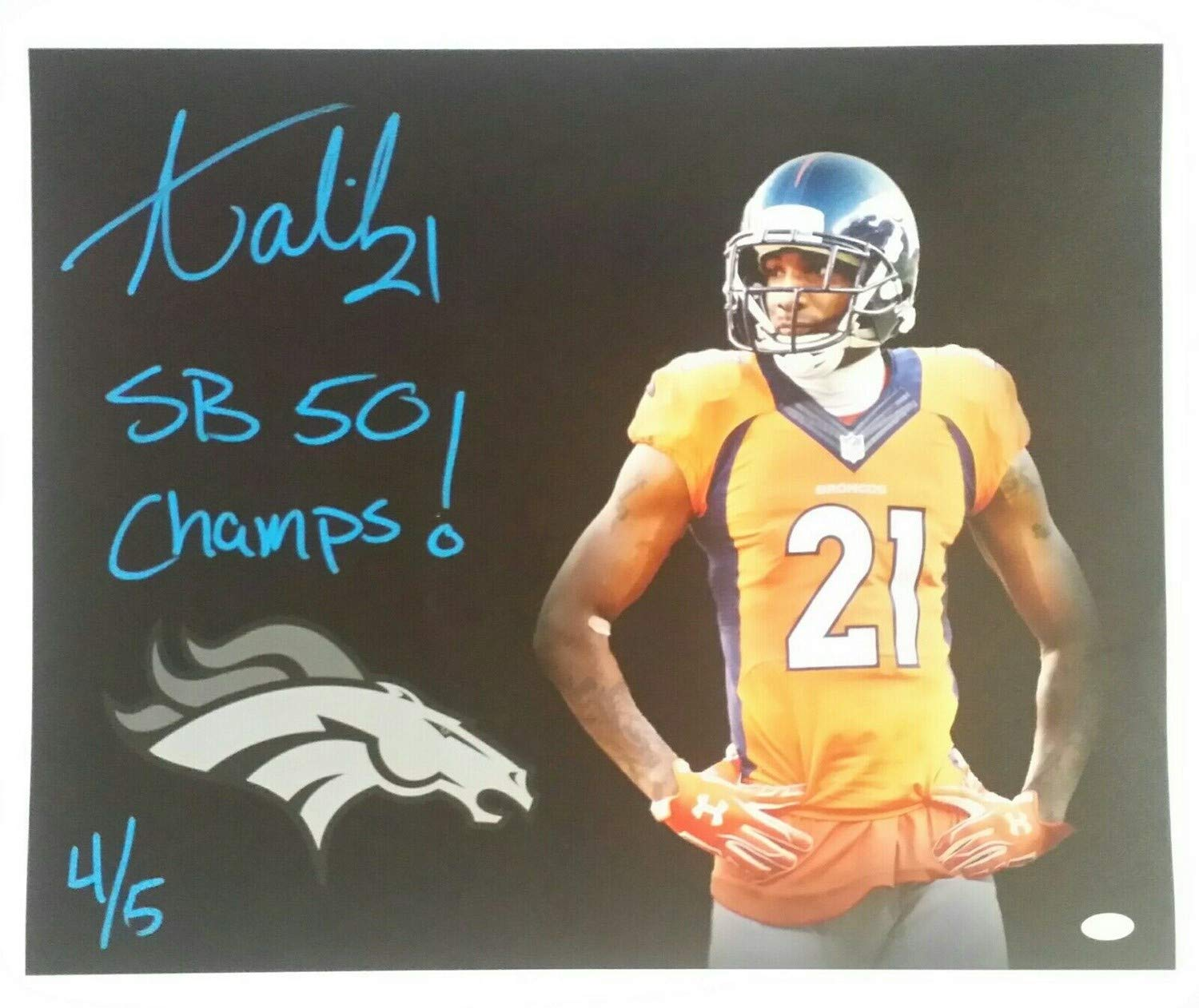 8e238a2ad36 Aqib Talib Autographed Signed 16x20 Canvas Denver Broncos 4 Of 5 Memorabilia  JSA at Amazon s Sports Collectibles Store