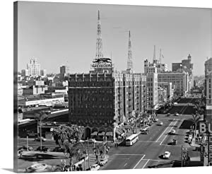 """GREATBIGCANVAS 1950's View of Downtown and Greyhound Bus Station San Diego CA USA Canvas Wall Art Print, 30"""" x2."""