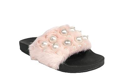 SODA Eyeball Women s Pearl Studs Faux Fur Slide in Slipper Flat Slides  Sandals