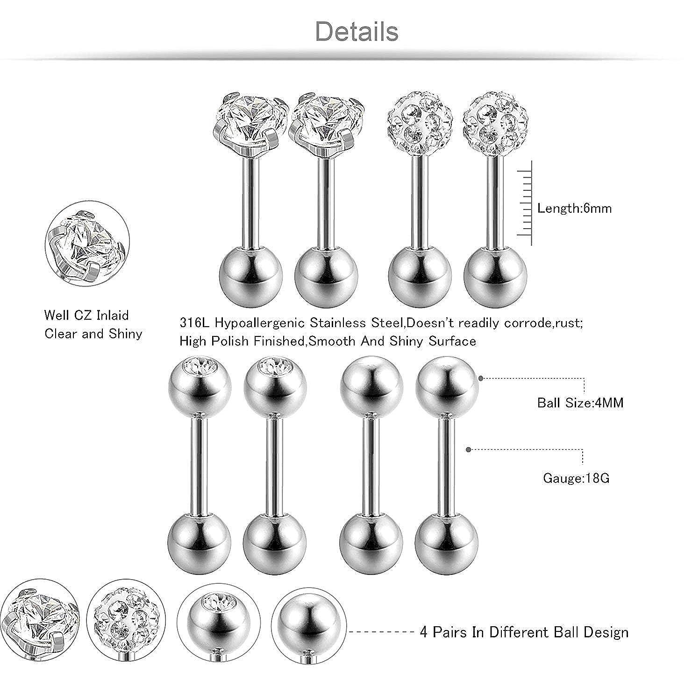 BESTEEL 4Paires Boucles d/'Oreilles Boule pour Homme Femme Clou d/'oreilles Spirale Piercing Cartilage Barbell avec CZ 18G