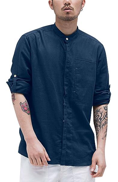 Aieoe Camisa Hombres Jovenes Cuello Mao Manga Larga Tops Casual con Botones  Algodón Lino Delgado Transpirable de Moda XL-4XL Blanco Azul Verde Beige   ... 8440d4e640c