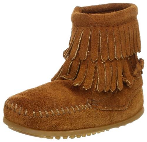 Minnetonka Side Zip Double Fringe 2292 - Botas de Ante para niña: Amazon.es: Zapatos y complementos