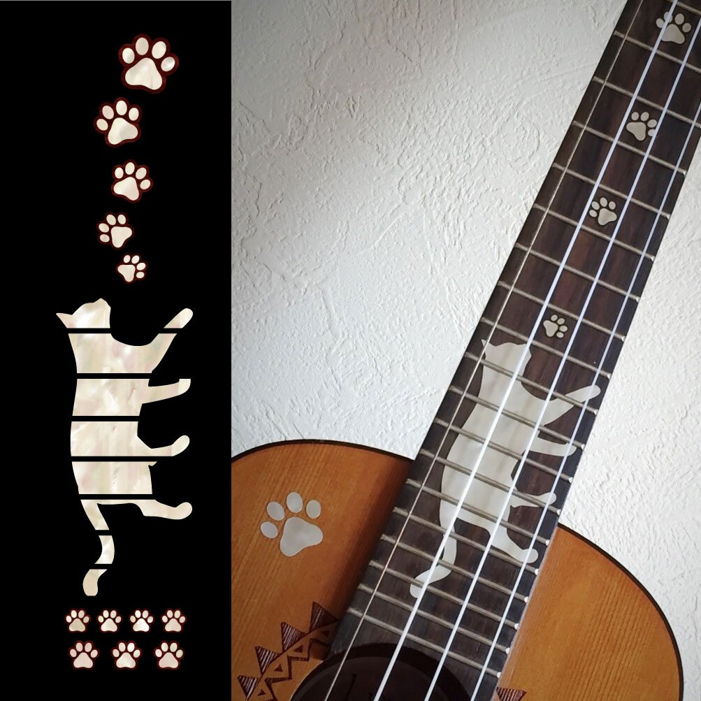 Ukulele - Concert Fret Markers Inlay Sticker Decal Cat Foot Print / Cat Paws