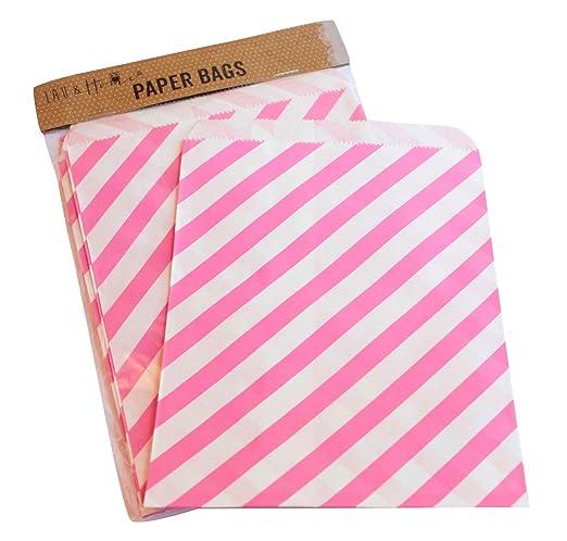 6 opinioni per Sacchetto di carta a righe party 25 / caramelle dolci regalo, 13x18cm- Rosa