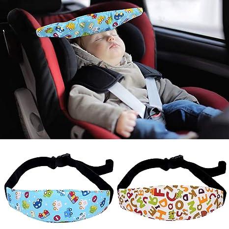 4 Piezas Ganchos Carrito Bebé + 2 Piezas Ajustable de Sujeta Cabezas Coche para Niño; Bebés Soporte de la Cabeza para Cinturón de Seguridad de Coche, ...