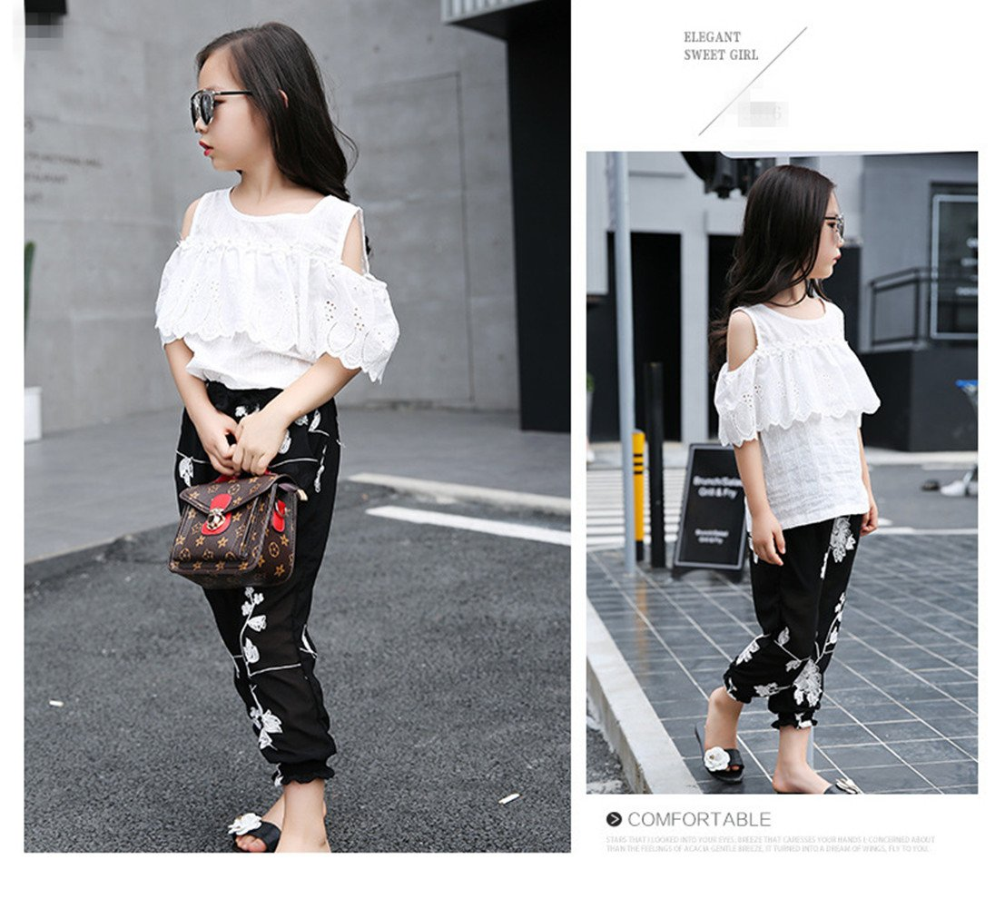 FTSUCQ Girls Pullover Off-Shoulder Lace Shirt Top + Floral Cropped Trousers,140 by FTSUCQ (Image #5)