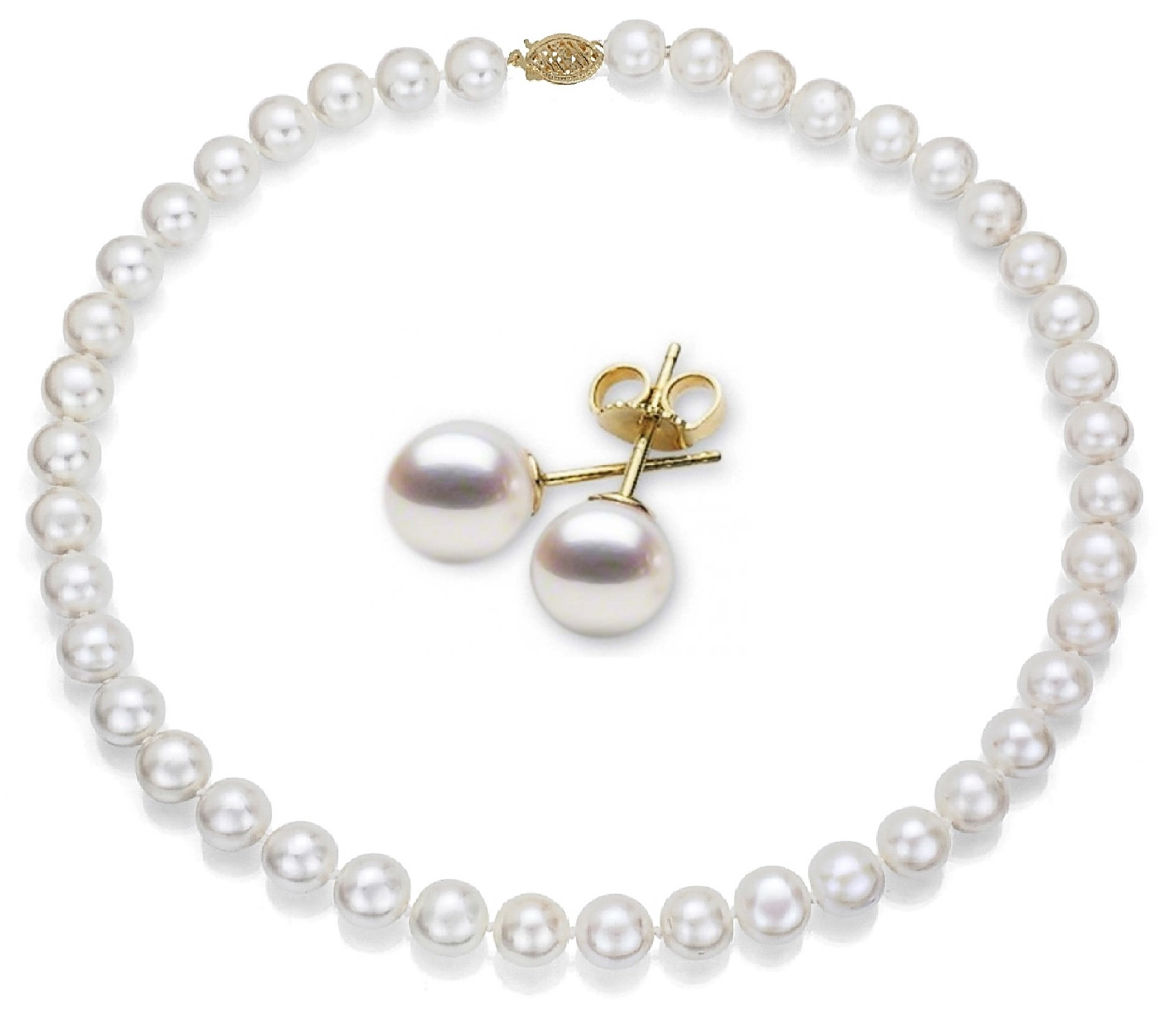14k Gold 9-10mm White Freshwater Cultured AA-Quality Pearl Necklace, Earrings Set