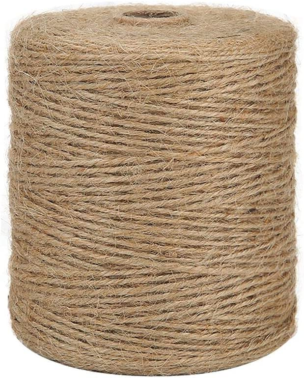 Natural Jute Twine Arts and Crafts Jute Rope Industrial Packing Materials Packing String for DIY Crafts Festive Decoration and Gardening Applications 3ply,164 Feet