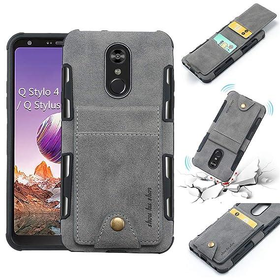 size 40 316de 6633f LG Stylo 4, LG Q Stylus, LG Stylo 4 Plus, Stylus 4 Wallet Case, 5 ID Credit  Card Slot, Button Flip-Out Leather Drop Protection Case - Gray