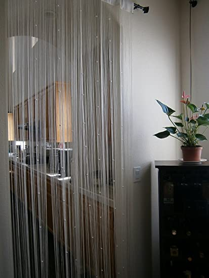 Amazoncom Octorose Cream String Curtain Panel 40x110 with Faux