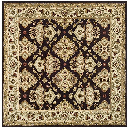Safavieh Heritage Collection HG817B Handmade Traditional Oriental Espresso and Ivory Wool Square Area Rug (8' Square)