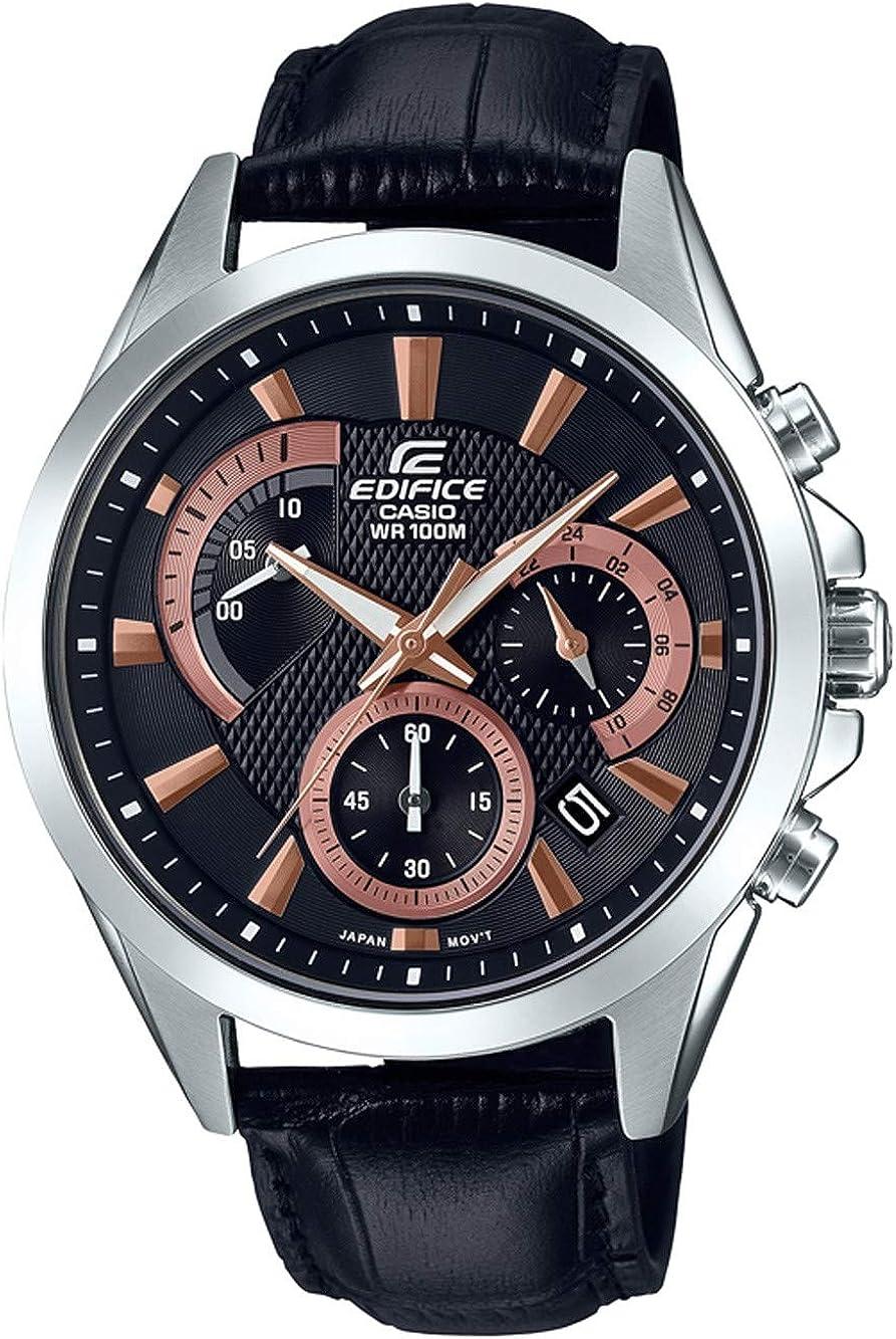 Casio Reloj Cronógrafo para Hombre de Cuarzo con Correa en Cuero EFV-580L-1AVUEF