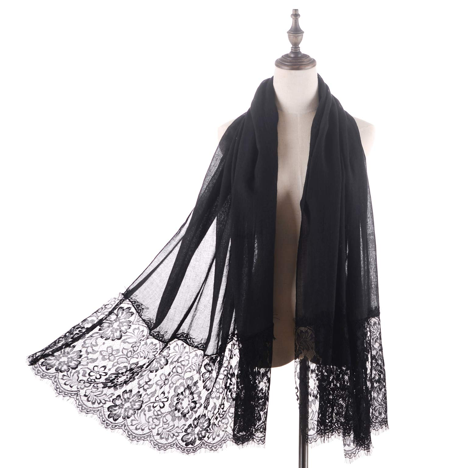 Women Fashion Scarf Wrap Shawl,RiscaWin Autumn Soft Lightweight Lace Scarves Wrap Warm Scarf(Black) by RiscaWin (Image #1)
