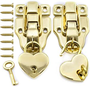 SDTC Tech Antique Cabinet Duckbilled Toggle Hasp Latch and Heart-Shaped Padlock Kit with Matching Screws for Jewelry Box Wooden Case Trunks Furniture Decoration - Gold (2X Toggle Latches + 2X Locks)