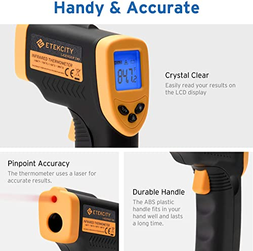 Etekcity Lasergrip 749 Non-Contact Digital Laser Infrared Thermometer Temperature Gun-58 716 -50 380 , Standard Size, Black Yellow Renewed