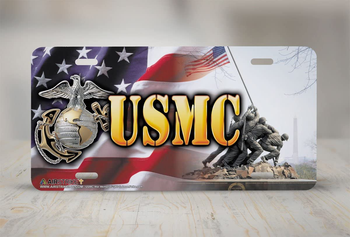 -283 Airstrike Marine Corps USMC War Memorial American Flag License Plate Front License Plate Made in USA Made of Metal