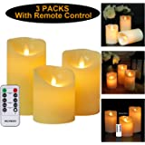 Candle Light Flameless Candles with Remote Control, LED Votive Lights Candles with Timer for Wedding Party Christmas Halloween Valentine' s Day, Honeymoon (3 Packs, Warm White, Battery Operated)