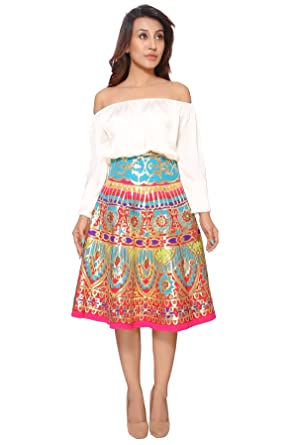 36839e51f860d6 Off Shoulder Top and Multicolour Gold Leather Skirt (Small) at ...
