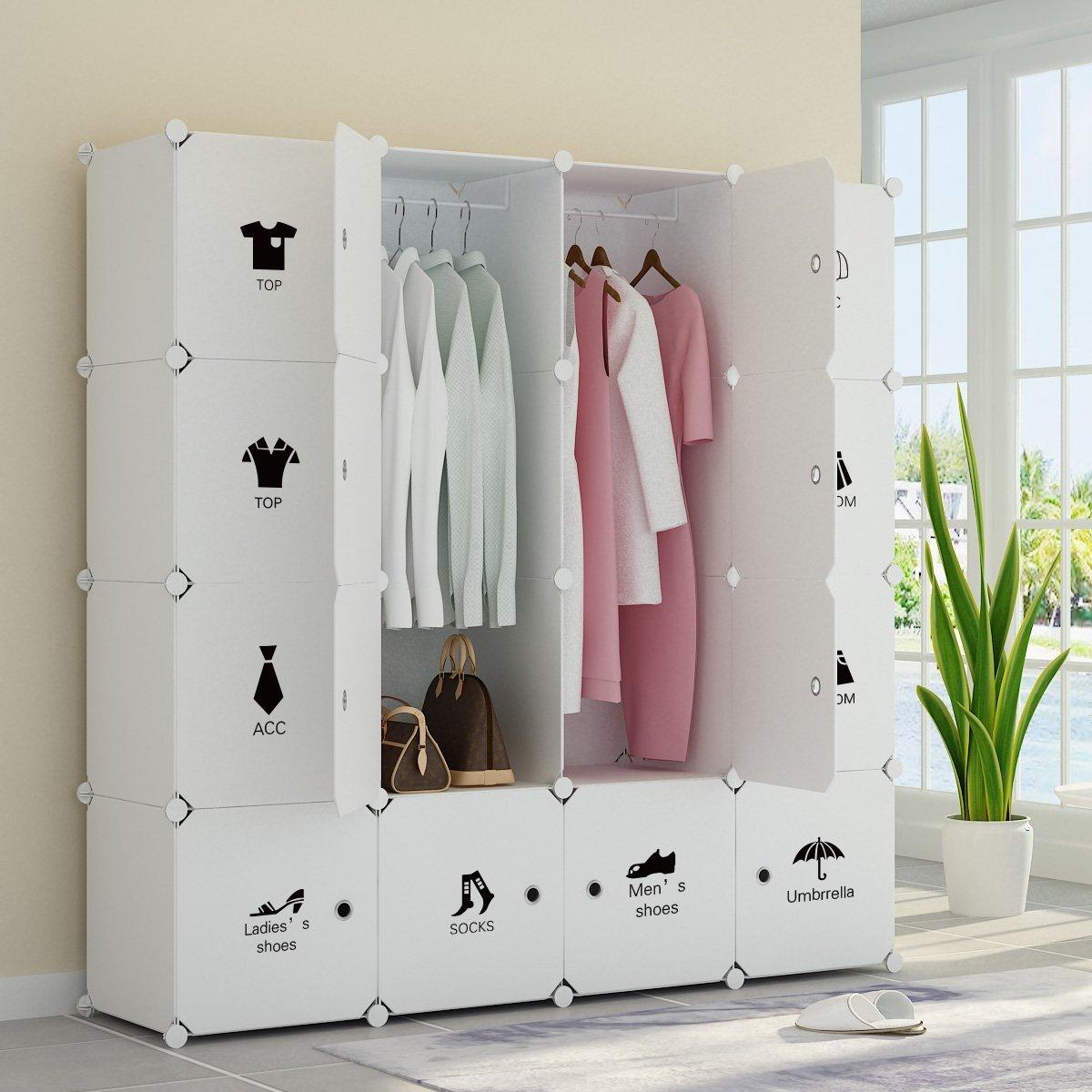 Koossy extensible Vêtements Closet Armoire Armoires Armoire de rangement organiseur avec portes - Spacieux et robuste