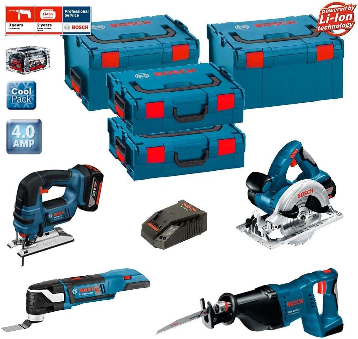 Bosch Kit psl4wggm2a Professional (GST 18V-LI + GKS 18V-Li + GSA 18V-LI + GOP 18V-EC + 2Baterías X 4,0Ah + 2x L-Boxx 238+ 2x L-Boxx 136+ Cargador AL1860CV): Amazon.es: Bricolaje y herramientas