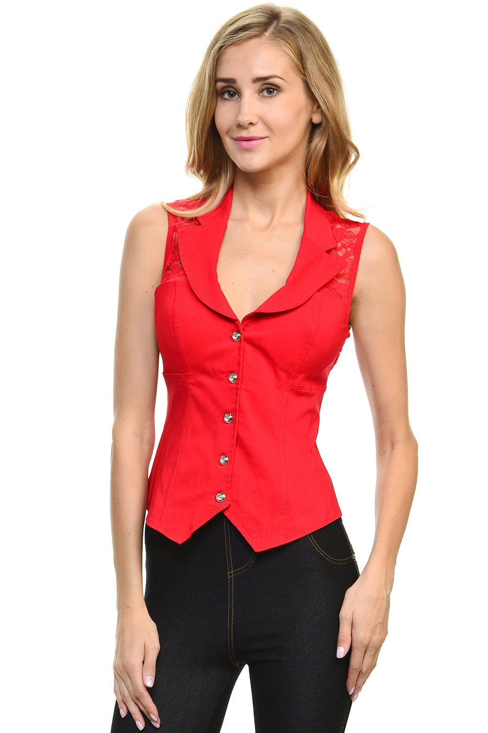 Sexy Rhinestone Button Spandex Sleeveless Collar Top with Back Lace (Medium, Red)