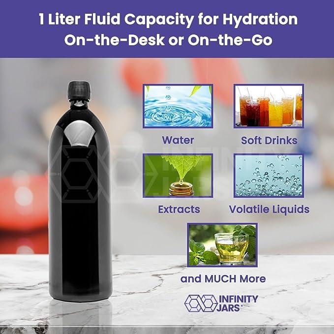 infinity tarros 1 litro (34 fl oz) Ronda ultravioleta (tamaño grande, en recipiente de cristal, botella de agua, Negro: Amazon.es: Deportes y aire libre