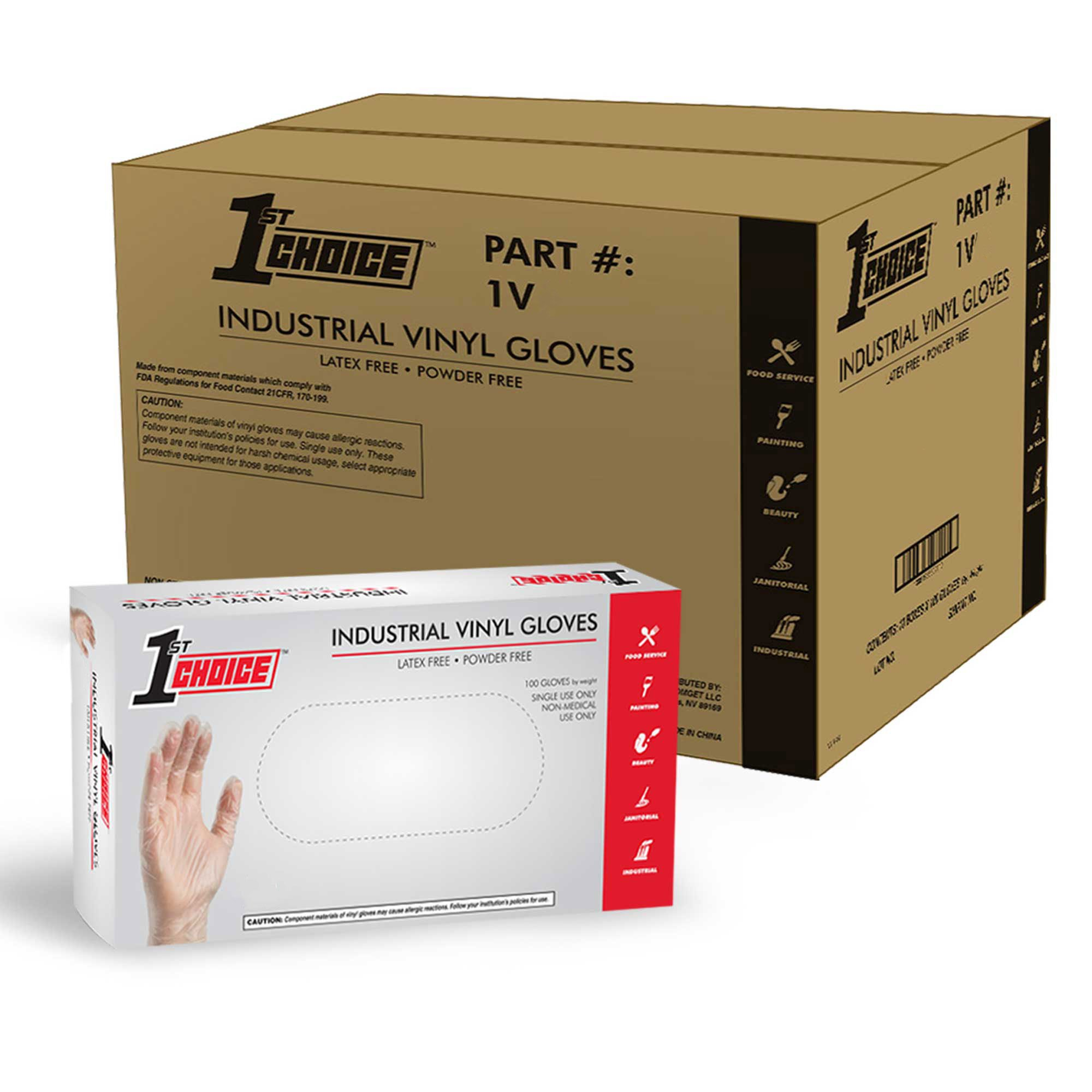 1st Choice Clear Vinyl Disposable Gloves, Case of 1000 Large - Industrial Grade, Latex-Free by 1st Choice