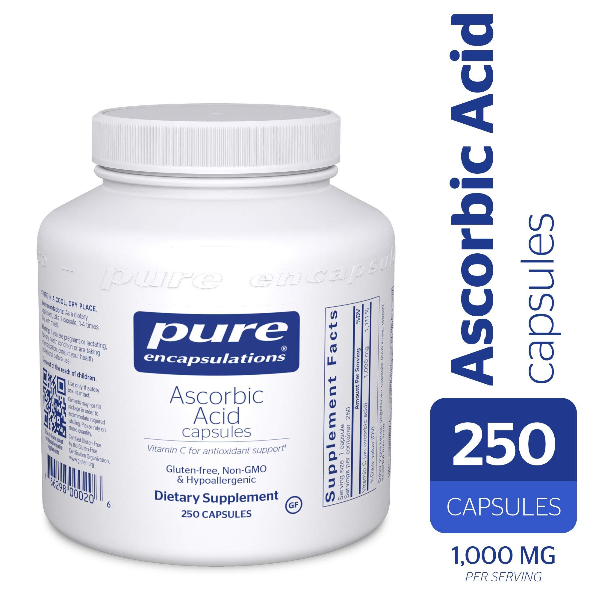 Pure Encapsulations - Ascorbic Acid Capsules - Hypoallergenic Vitamin C Supplement for Antioxidant Support* - 250 Capsules by Pure Encapsulations