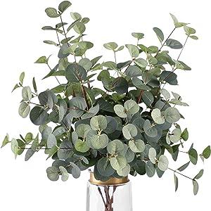 FUNARTY 6 Pcs Artificial Eucalyptus Leaves Long Stems 25