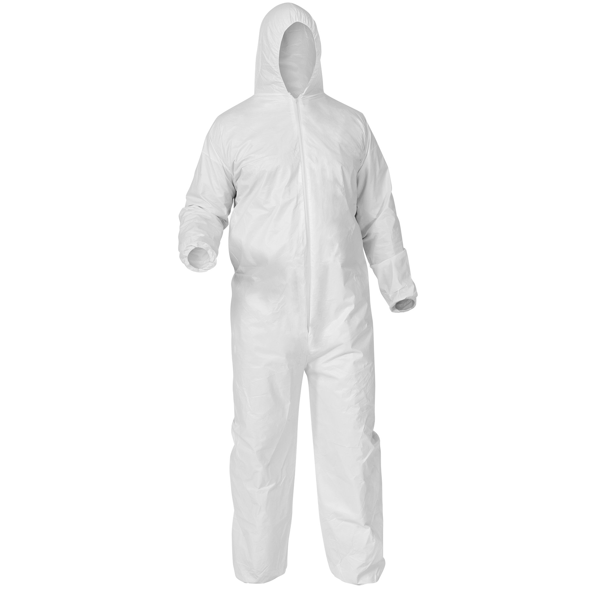Kleenguard A35 Disposable Coveralls (38939), Liquid and Particle Protection, Hooded, White, Extra-Large (XL), 25 Garments/Case