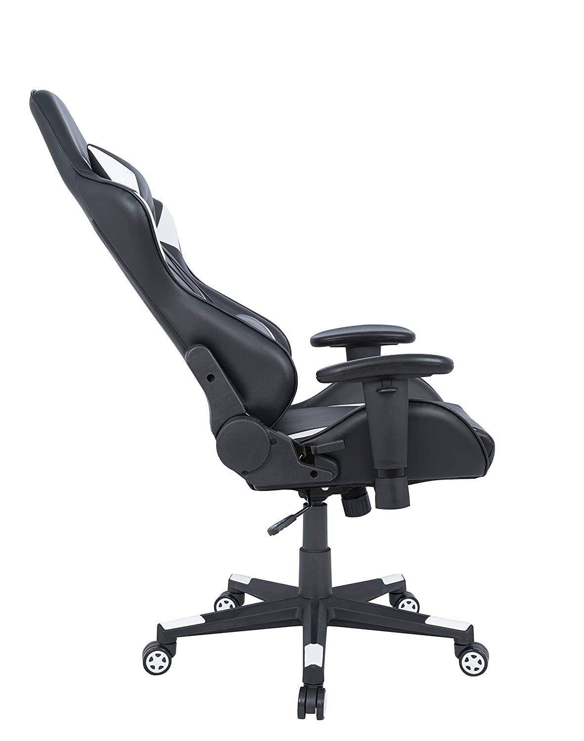 AmazonBasics Gaming Office Chair – Racing Style Seat with Headrest and Firm Lumbar Support – White