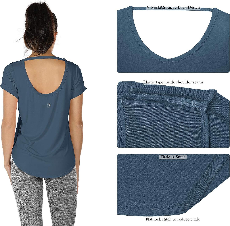 icyzone T-Shirts de Yoga Femme /à Manche Courtes Tee Shirt Running Fitness Tops