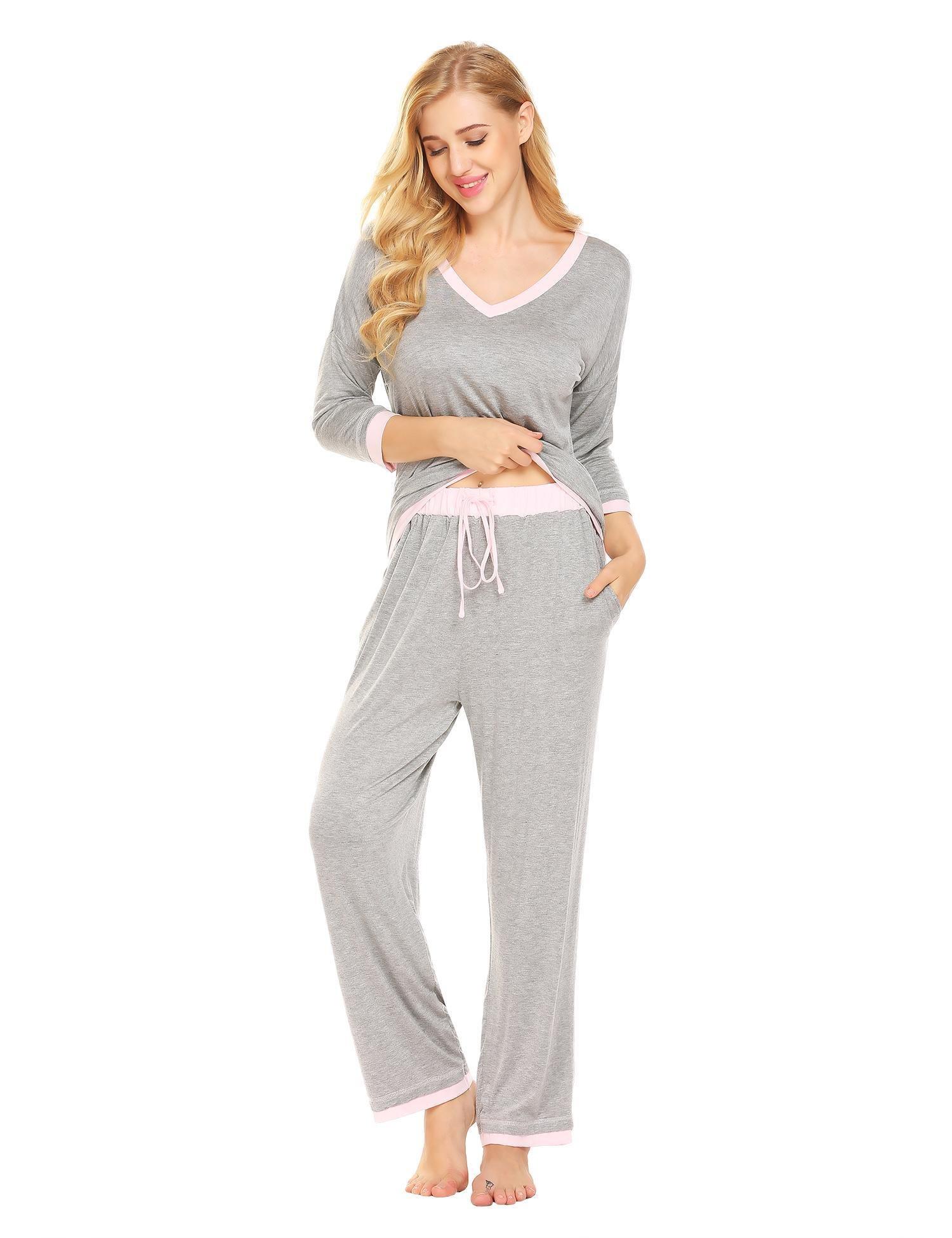 Ekouaer Women's Comfort Pajamas V-Neck Sleepwear Top with Pants Pajama Set Long Sleeve Pj Set