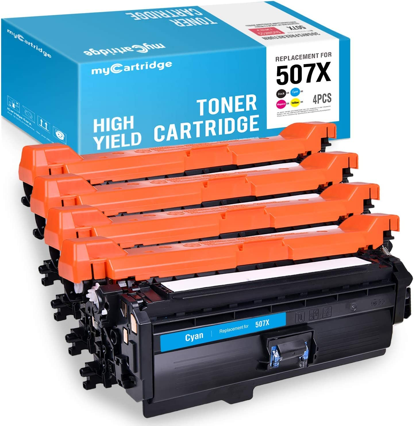 myCartridge Remanufactured Toner Cartridge Replacement for HP 507X 507A CE400X CE401A CE403A CE402A (Black Cyan Magenta Yellow, 4-Pack) Fit HP Laserjet Enterprise M551dn M551n MFP M575dn M575F M570dn