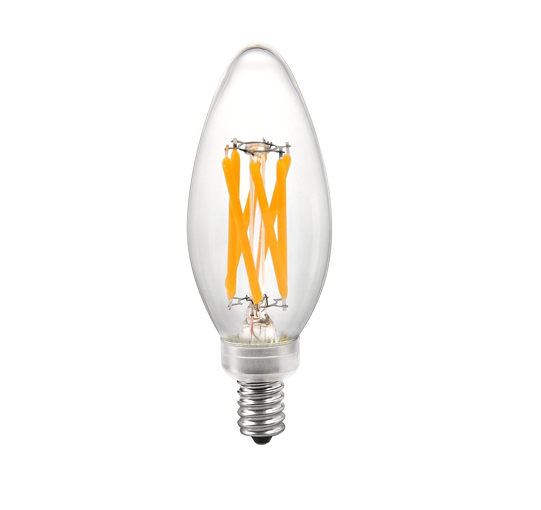 Torpedo Tip ENERGY STAR /& UL LISTED Chandelier Light Bulb-Dimmable-Soft White 3000K Brite Innovations 5-Watt = 60W Equivalent LED Filament Candelabra
