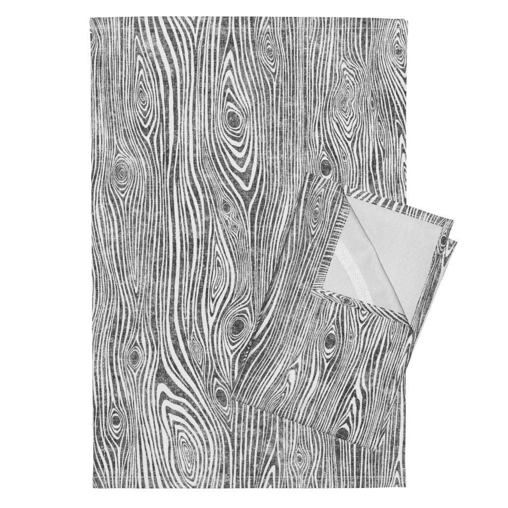 Woodgrain Wood Texture Grey Wood Gray Wood Wooden Tea Towels Woodgrain Grey - Driftwood by Rebecca Reck Art Set of 2 Linen Cotton Tea Towels