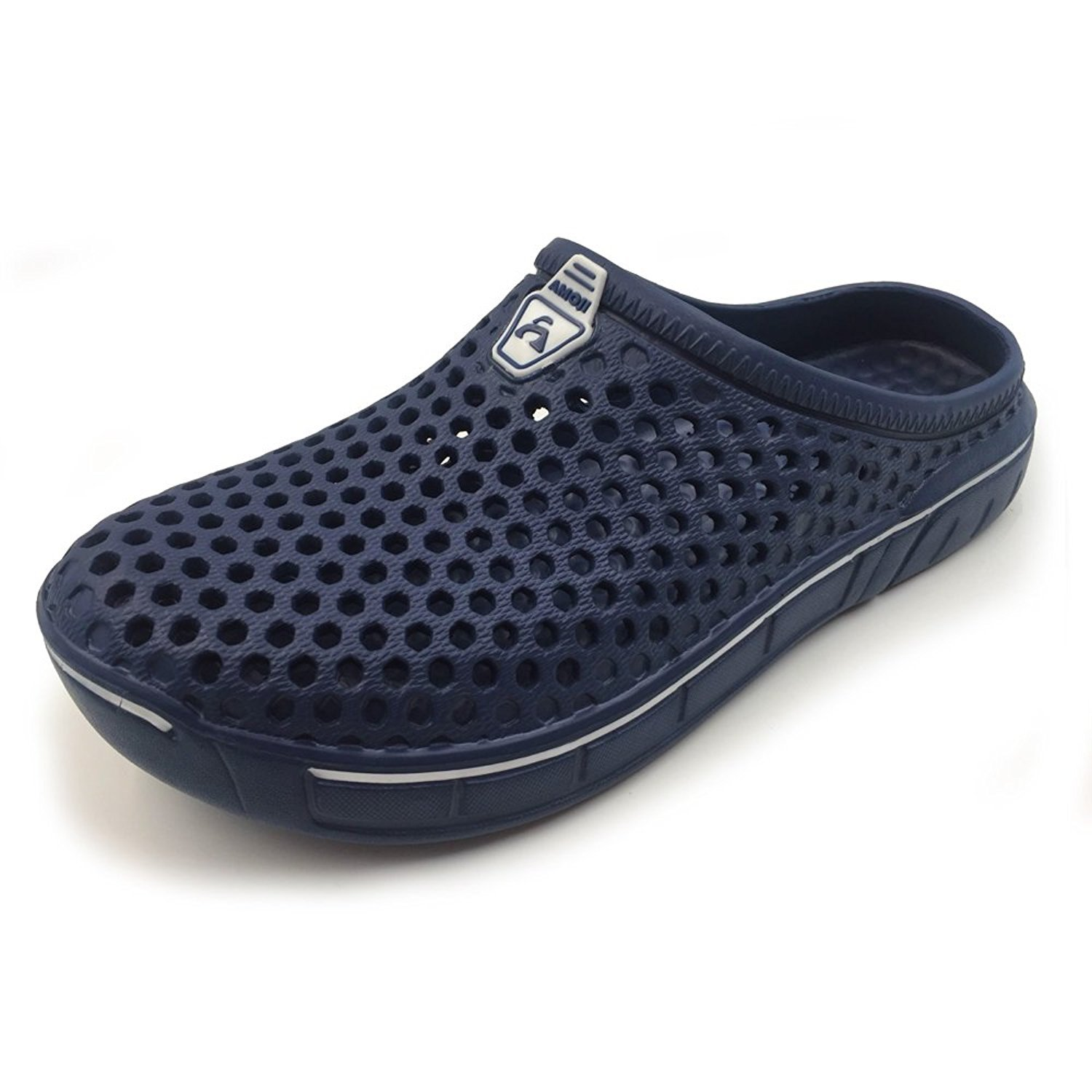 Amoji Unisex Garden Clogs Shoes Sandals House Slippers Room Shoes Indoor Outdoor Shower Shoes Quick Dry Home Summer Walking Women Men Ladies AY161 Navy 12US W/10US M