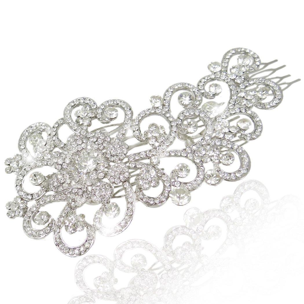 Gioielli per capelli, TENYE Cristalli austriaci 5.5 pollice Sposa Floreale Fiore Trasparente Argento-fondo 13001552-1