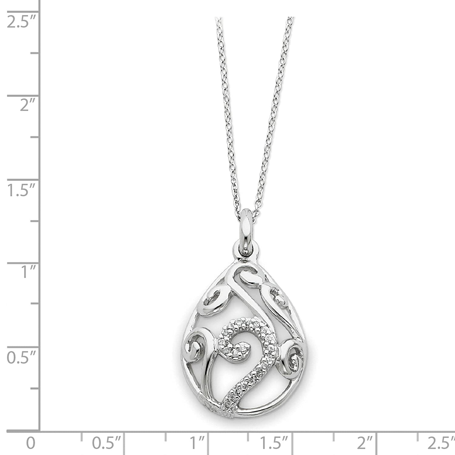 Sterling Silver CZ /& White Stone Dew of Heaven Teardrop Pendant Necklace 18 by Sentimental Expressions