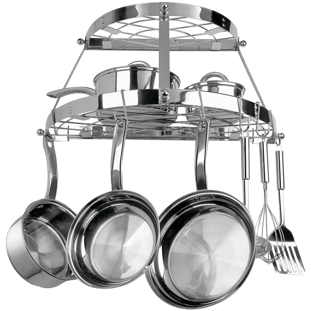 CW6004R TWO SHELF WALL-MOUNT POT RACK (STAINLESS STEEL)