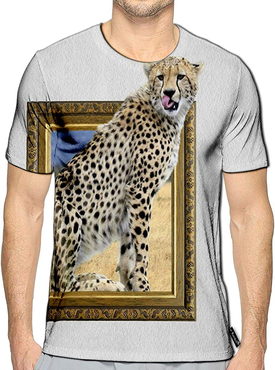 3D Printed T-Shirts Cheetah in Old Wooden Frame with 3D Effect Short Sleeve Tops