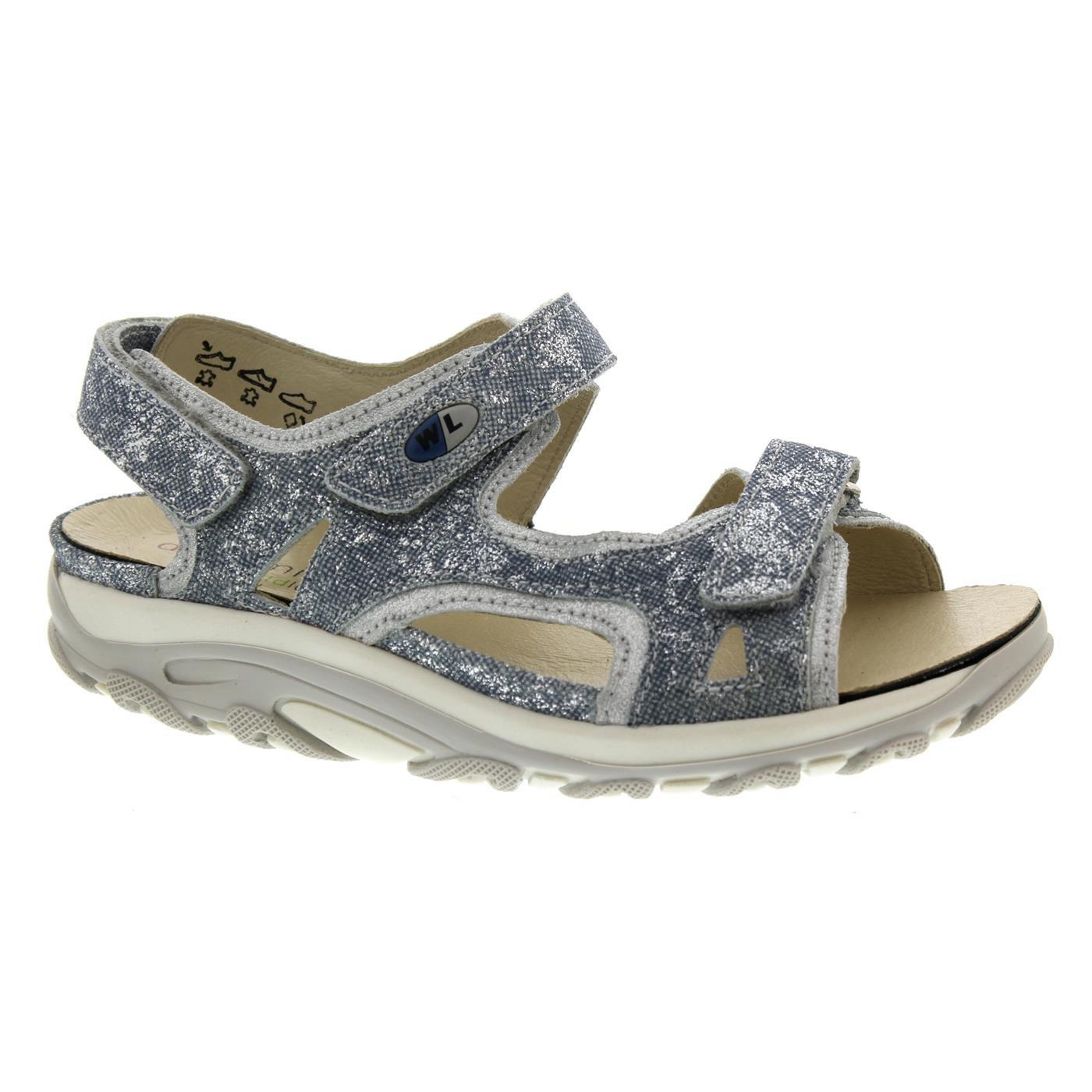 Waldläufer Hanni, Dynamic-Sohle, Newton/Glitter, Jeans/Silber Weite H 448002-206-693 Jeans-Silber