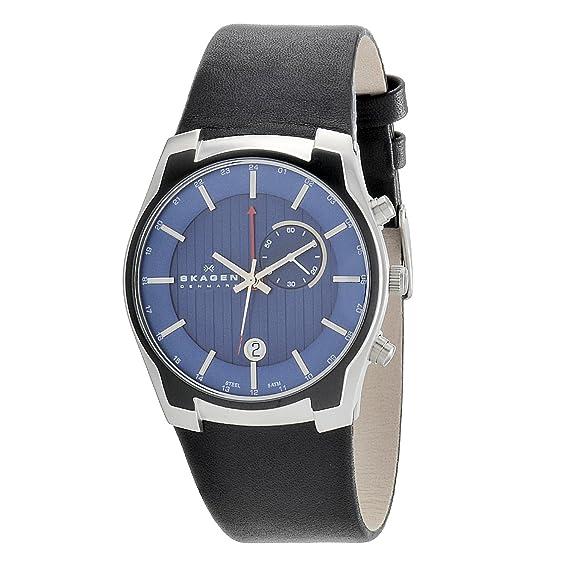Skagen 853XLSLN - Reloj para hombres, correa de cuero color negro