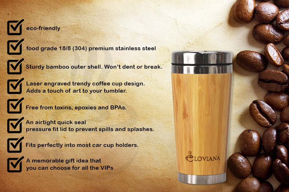 LOVIANA Bamboo Travel Coffee Mug, Travel Tumbler with Airtight Quick Seal Lid, Eco-friendly & BPA Free, Stainless Steel Double Wall Insulated Coffee Cup BAMBOO , 16oz