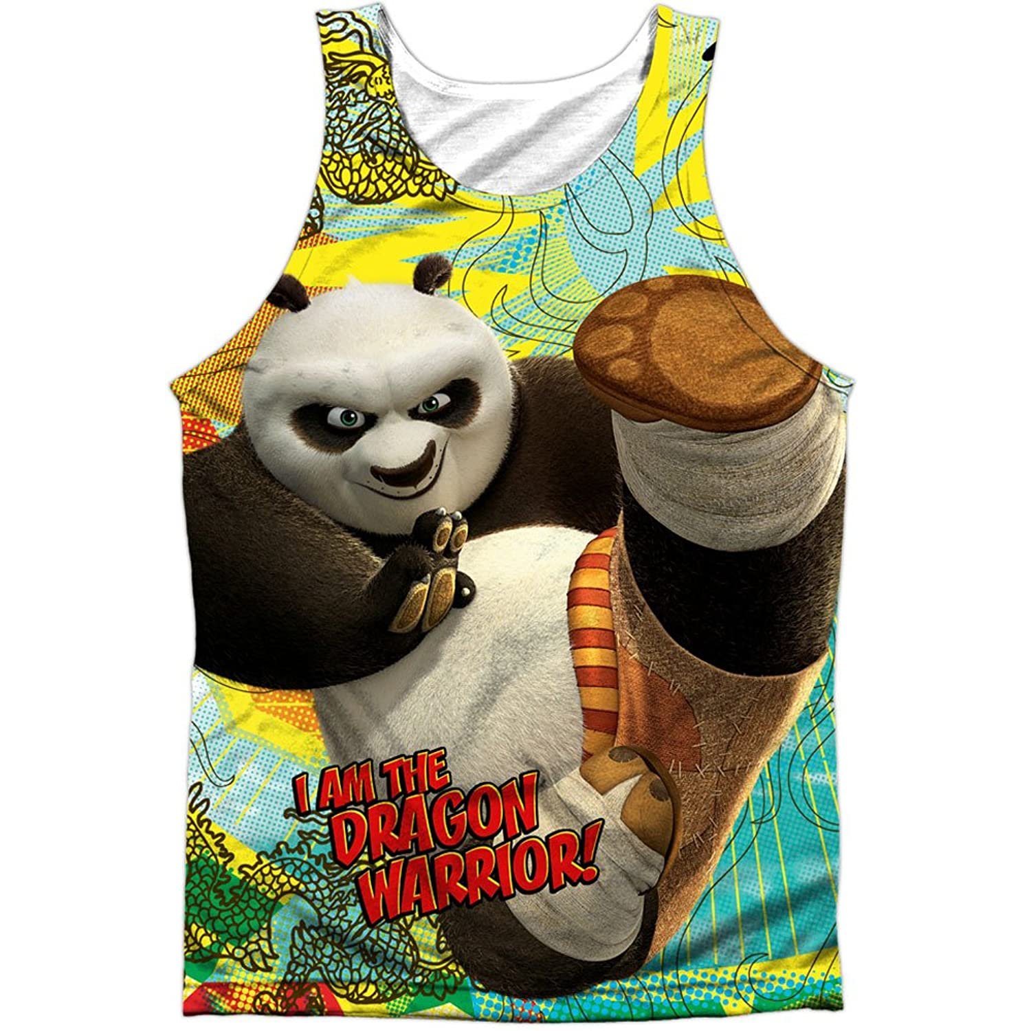 Kung Fu Panda Cartoon Action Movie Po: Dragon Warrior Front Print Tank Top Shirt