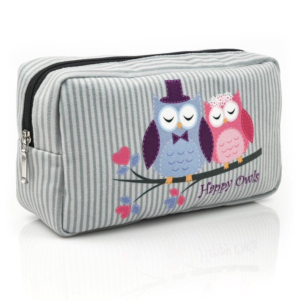 Gufi HAPPY OWLS COLLECTION rose grisa matita-contenitore borsa da toeletta con cerniera decorativa un'esclusiva collezione in edizione limitata 2018 W1