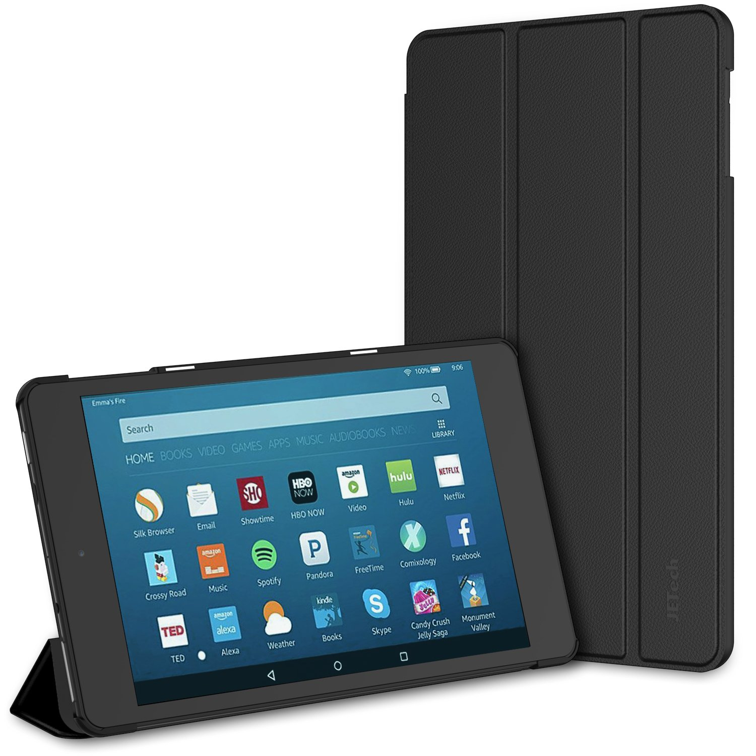 JETech Case for All-New Amazon Fire HD 8 Tablet (8th / 7th / 6th Generation - 2018, 2017 and 2016 Release) Smart Cover with Auto Sleep/Wake (Black)