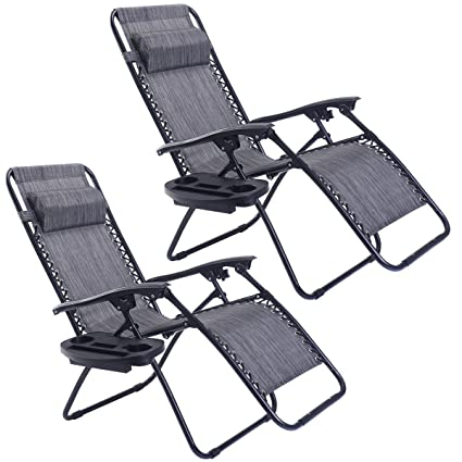 Goplus Zero Gravity Chairs, Lounge Patio, Folding Recliner, Outdoor Yard  Beach With Cup
